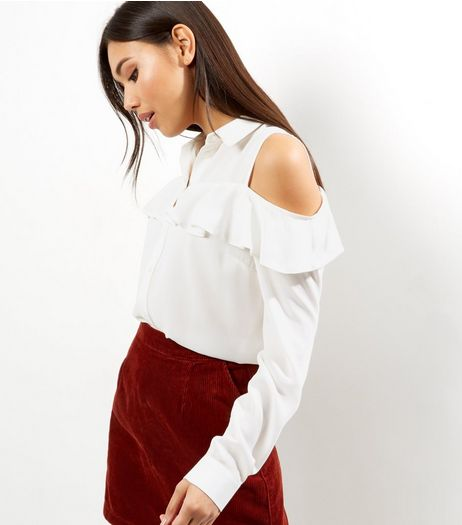 White Frill Trim Cold Shoulder Shirt | New Look