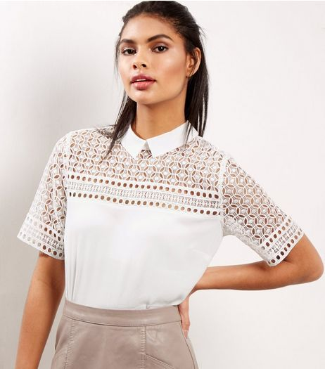 White Cut Out Panel Short Sleeve Blouse  | New Look
