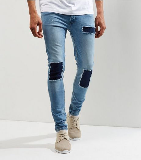 Blue Contrast Patch Super Skinny Jeans | New Look