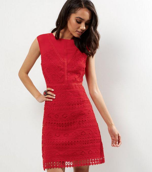 Petite Red Geometric Lace Shift Dress