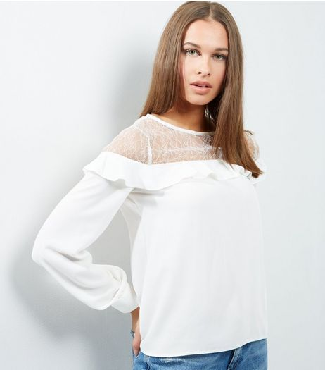 White Lace Panel Frill Trim Long Sleeve Top  | New Look