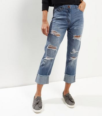 Parisian Blue Ripped Boyfriend Jeans