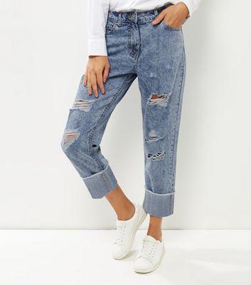 Parisian Pale Blue Ripped Boyfriend Jeans