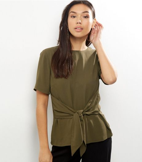 Khaki Tie Front Short Sleeve Top  | New Look