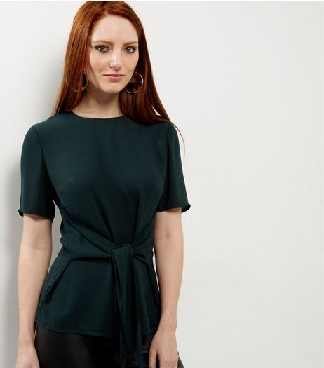 Dark Green Tie Front Short Sleeve Top  | New Look