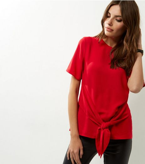 Red Tie Front Short Sleeve Top | New Look