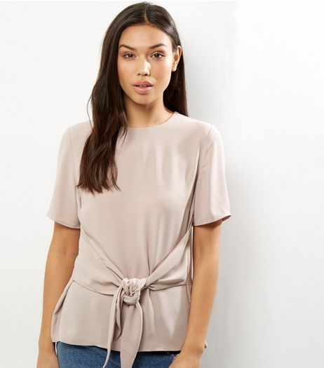 Shell Pink Tie Front Short Sleeve Top | New Look