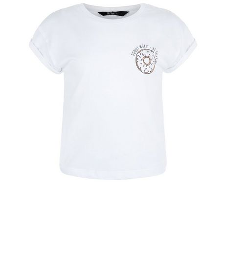Girls White Donut Worry Print T-shirt | New Look
