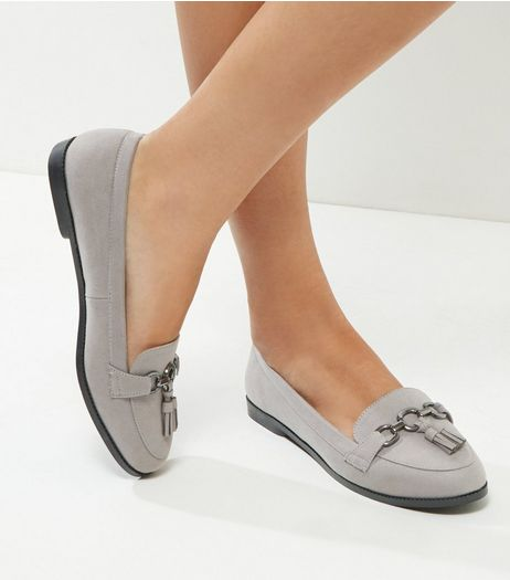 Wide Fit Grey Suedette Tassle Front Loafers | New Look