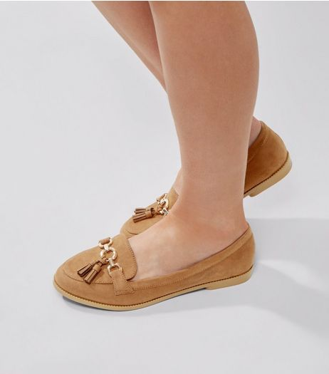 Wide Fit Tan Suedette Ring Bar Loafers | New Look