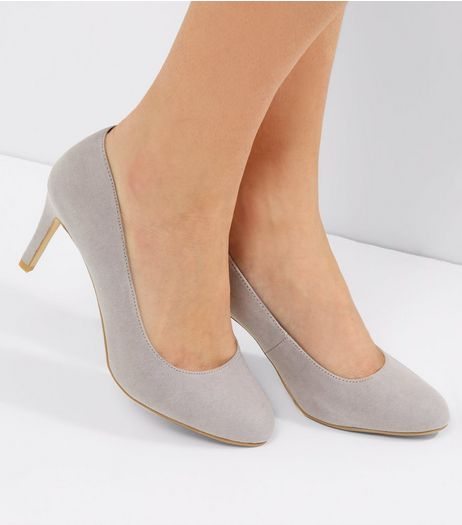 Grey Comfort Suedette Court Shoes | New Look