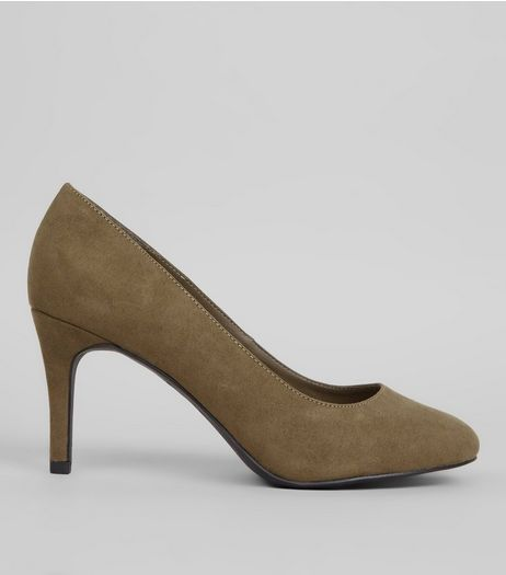 Khaki Comfort Suedette Court Shoes | New Look