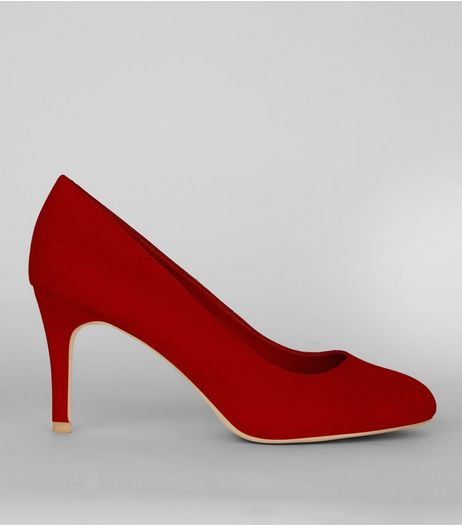 Red Comfort Suedette Court Shoes | New Look