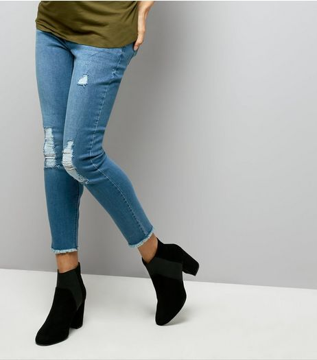 Maternity Blue Ripped Knee Under Bump Jeans | New Look
