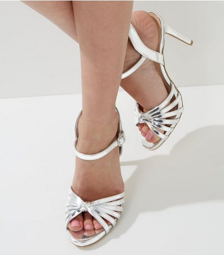 Wide Fit Silver Knot Front Heeled Sandals | New Look