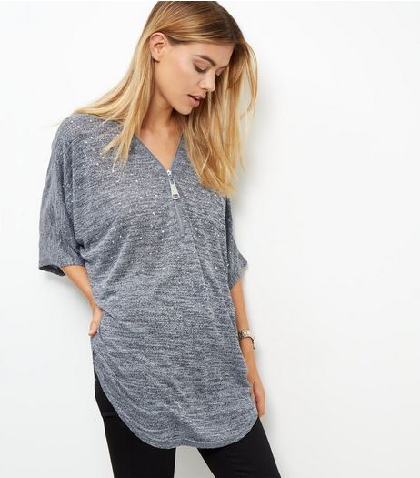Blue Vanilla Grey Diamante Zip Front Top | New Look