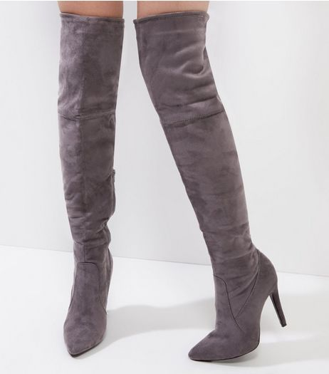 Grey Suedette Pointed Tie Up Over The Knee Heeled Boots | New Look