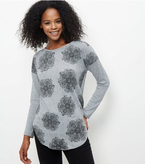 Blue Vanilla Grey Floral Lace Applique Top | New Look