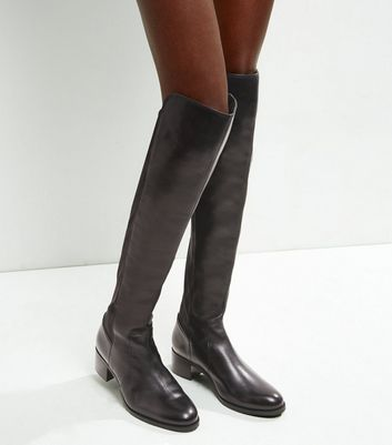 Black Leather Over The Knee Boots