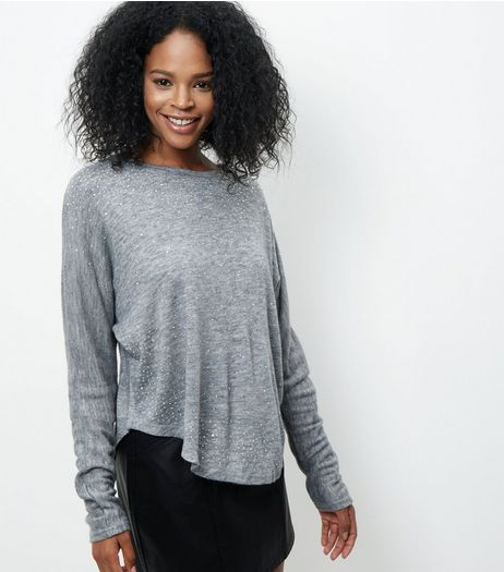 Blue Vanilla Grey Diamante Batwing Top | New Look