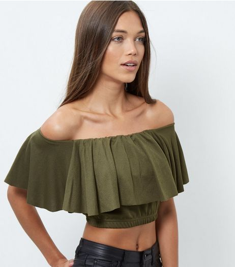 Cameo Rose Khaki Frill Trim Bardot Neck Crop Top | New Look