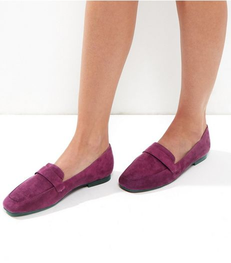 Wide Fit Pink Suedette Square Toe Loafers | New Look