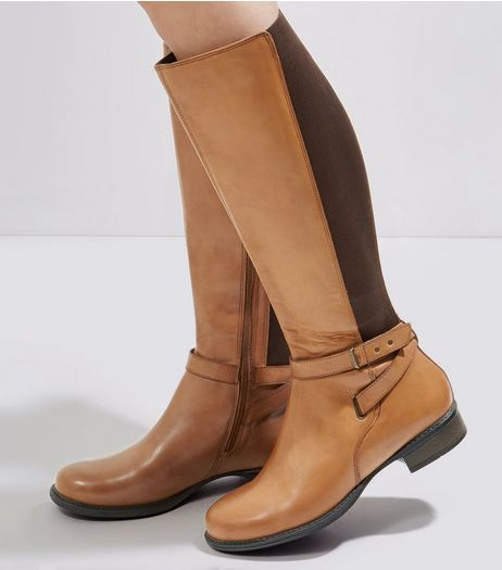 Tan Leather Cross Strap Knee High Boots | New Look