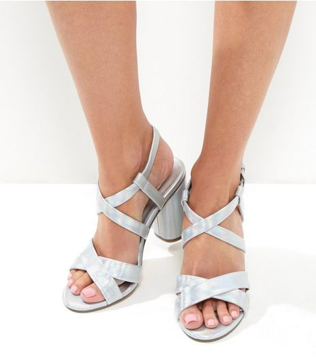 Wide Fit Silver Metallic Multi Strap Heeled Sandals | New Look