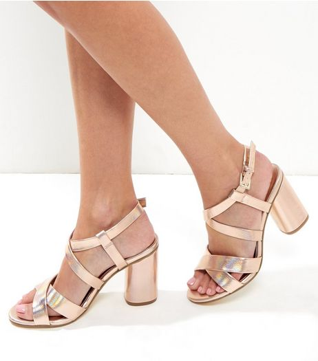 Wide Fit Rose Gold Metallic Multi Strap Heeled Sandals | New Look