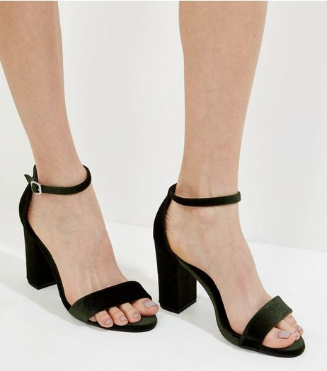 Dark Green Velvet Block Heels | New Look