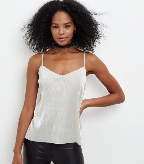 Cameo Rose Silver Metallic Cami  | New Look