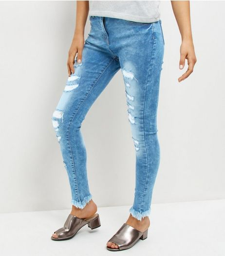 Parisian Blue Raw Hem Ripped Skinny Jeans | New Look