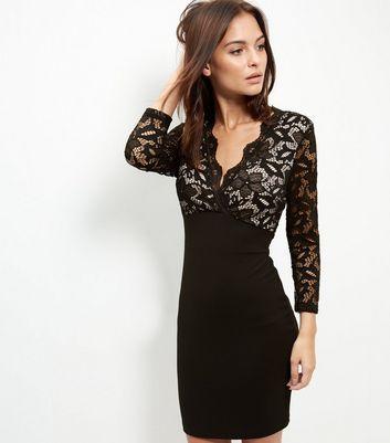Parisian Black Lace Plunge V Neck Bodycon Dress