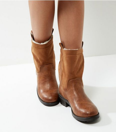 Brown Faux Shearling Lined Ankle Boots | New Look