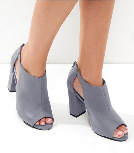 Grey Comfort Suedette Cut Out Block Heels | New Look