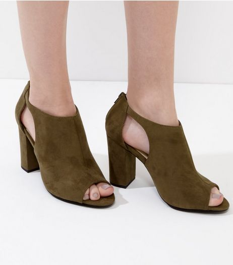 Khaki Comfort Suedette Cut Out Block Heel | New Look