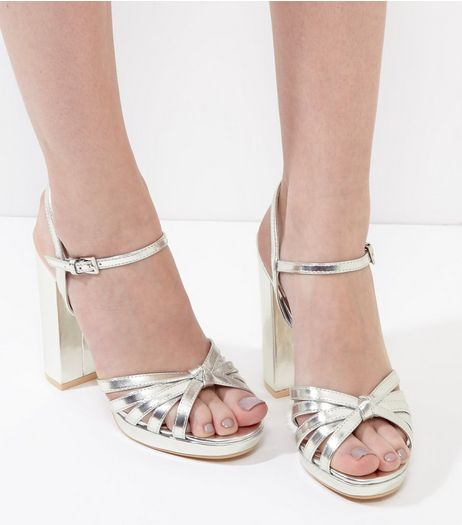 Silver Metallic Knot Platform Ankle Strap Heels | New Look