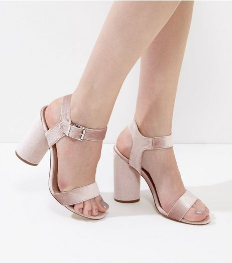Light Pink Velvet Ankle Strap Block Heels | New Look