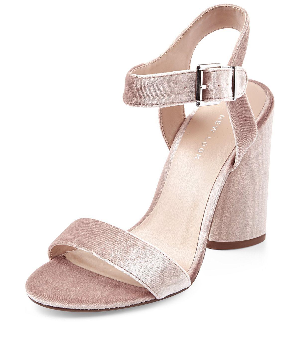 Light Pink Velvet Ankle Strap Block Heels | New Look