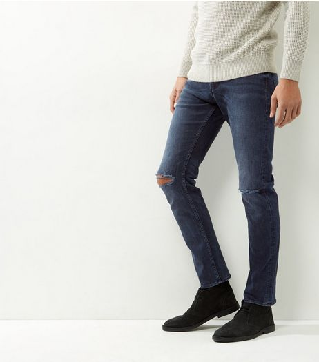 Blue Ripped Knee Stretch Slim Leg Jeans | New Look