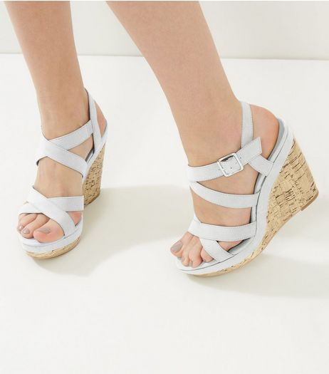 Grey Suedette Cross Strap Wedges | New Look