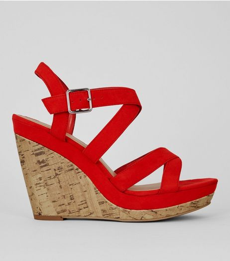 Red Suedette Cross Strap Wedges | New Look