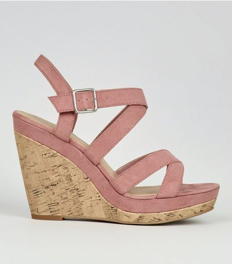 Pink Suedette Cross Strap Wedges | New Look