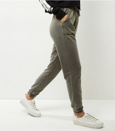 Khaki Burnout Joggers | New Look