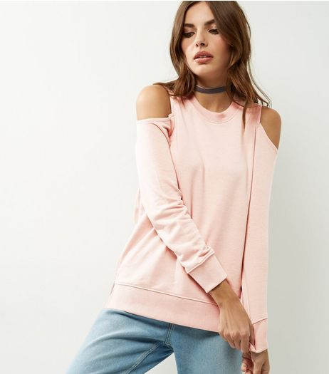 Shell Pink Cold Shoulder Sweater | New Look