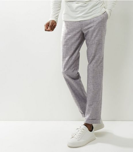 Grey Cropped Turn Up Hem Trousers | New Look