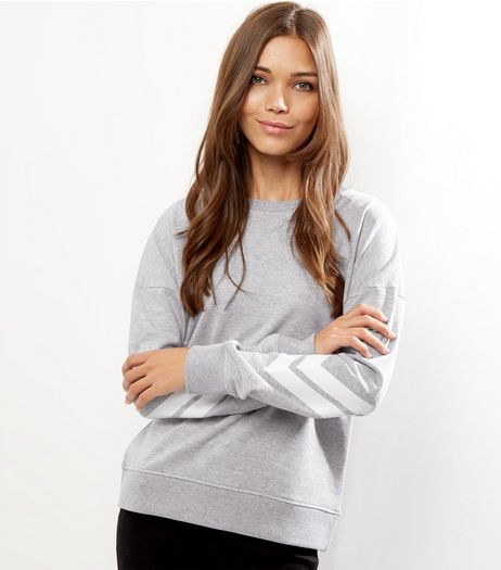 Grey Stripe Sleeve Sweater  | New Look