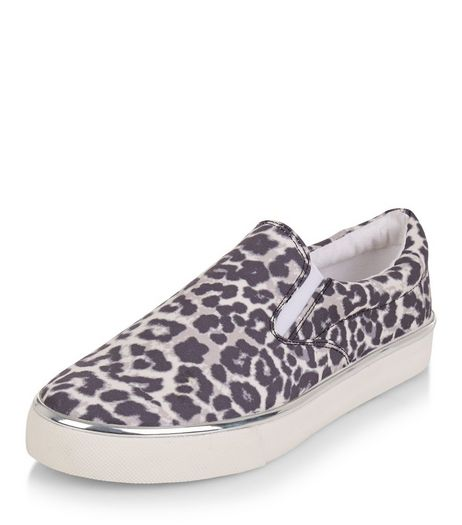 Teens Stone Leopard Print Metallic Trim Slip On Plimsolls | New Look