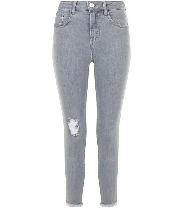 Girls Grey Ripped Knee Rolled Hem Skinny Jeans