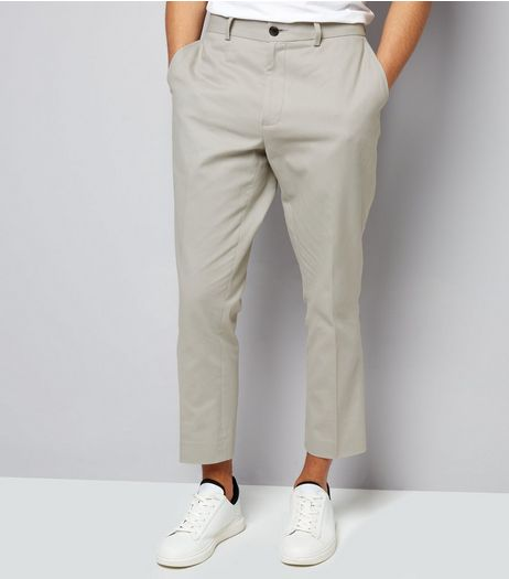 Stone Cropped Cotton Slim Leg Trousers | New Look